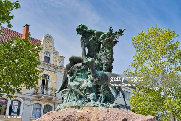 donopbrunnen fountain in detmold, germany - mythological character stock pictures, royalty-free photos & images