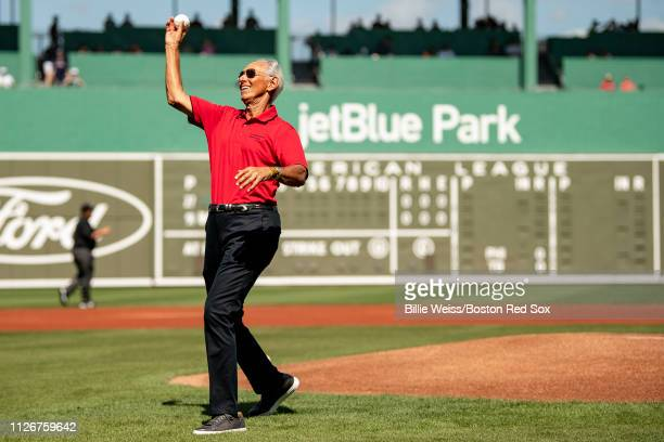 Donor Amin Khoury of the Northeastern University throws out a ceremonial first pitch before a game against the Boston Red Sox on February 22 2019 at...