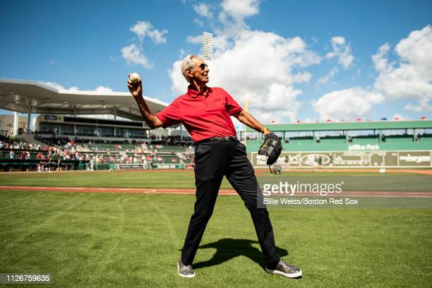 Donor Amin Khoury of the Northeastern University warms up before throwing out a ceremonial first pitch before a game against the Boston Red Sox on...
