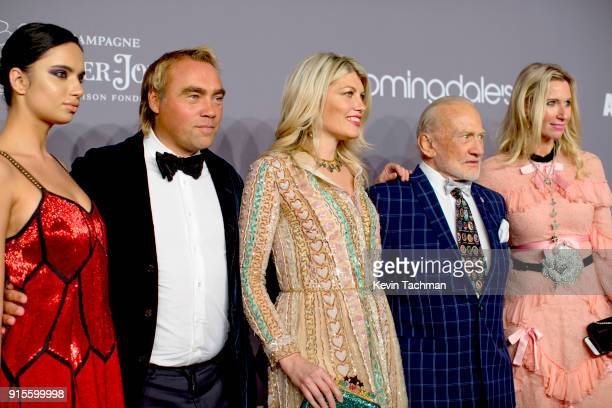 Donor Johan Ernst Nilson actor Meredith Ostrom Buzz Aldrin and guests attend the 2018 amfAR Gala New York at Cipriani Wall Street on February 7 2018...