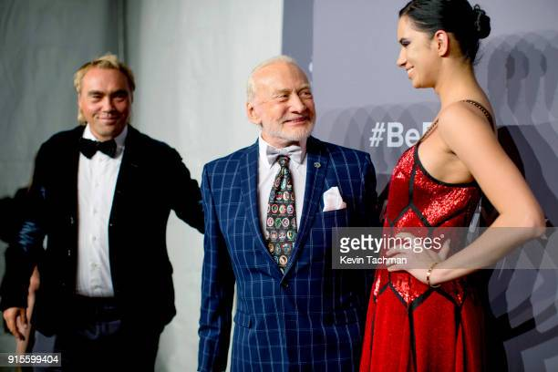 Donor Johan Ernst Nilson Buzz Aldrin and guest attend the 2018 amfAR Gala New York at Cipriani Wall Street on February 7 2018 in New York City