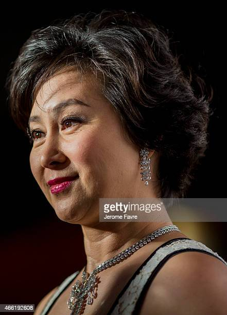 Donor Pansy Ho arrives on the red carpet during the 2015 amfAR Hong Kong gala at Shaw Studios on March 14 2015 in Hong Kong
