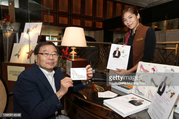 Donor Sam Chen Tongsang sketches at the Kowloon Shangrilaés Jimmy Choo shoes sketch fundraiser for Operation Santa Claus project25NOV15