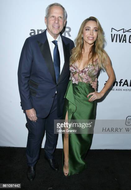 Donor Steve Tisch and Katia Francesconi attend the amfAR Gala 2017 at Ron Burkle's Green Acres Estate on October 13 2017 in Beverly Hills California