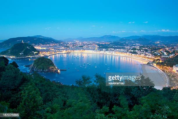donostia at dusk - san sebastian spain stock pictures, royalty-free photos & images