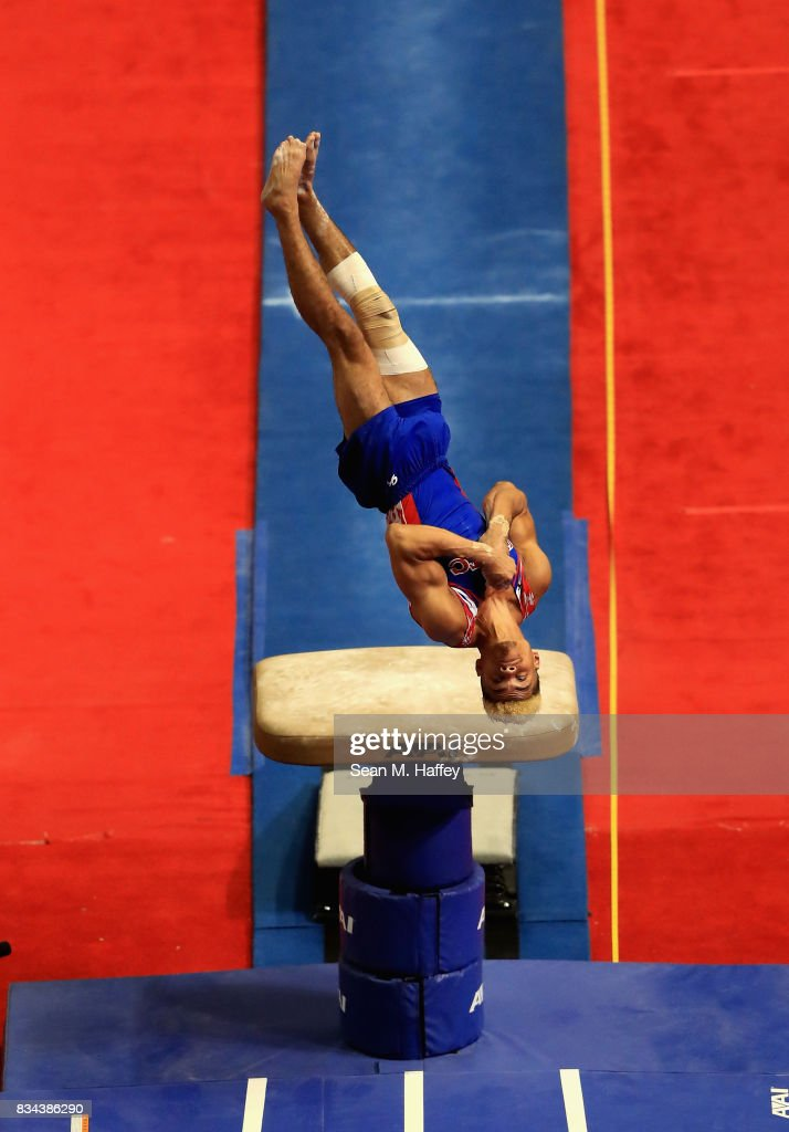 Donothan Bailey competes during the Vault P&G Gymnastics Championships at Honda Center on August 17, 2017 in Anaheim, California.