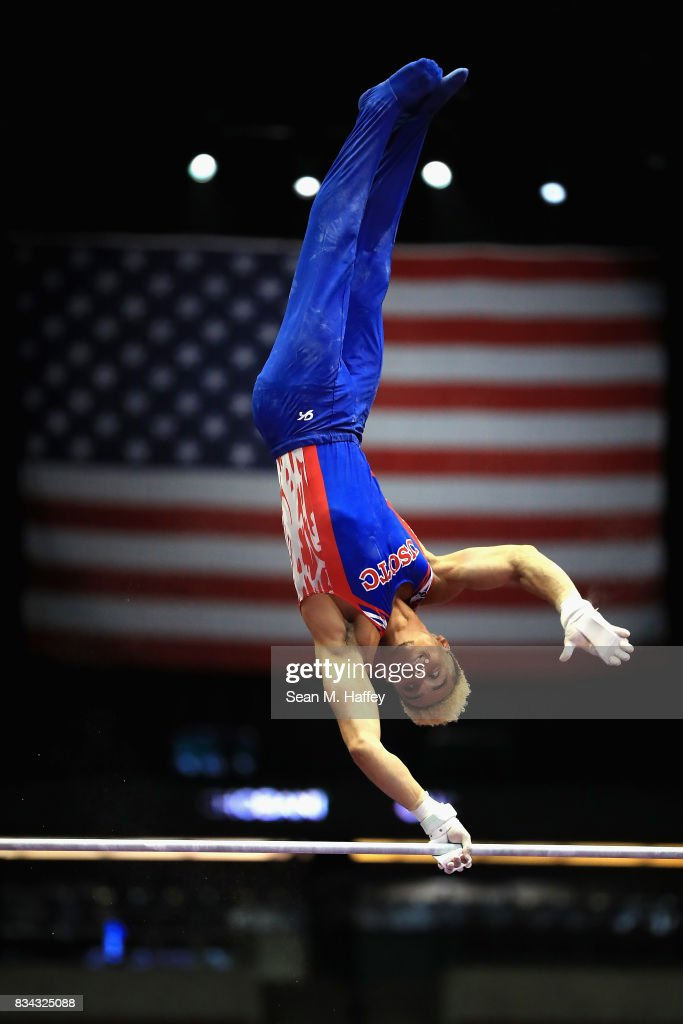 Donothan Bailey competes on the High Bar during the P&G Gymnastics Championships at Honda Center on August 17, 2017 in Anaheim, California.