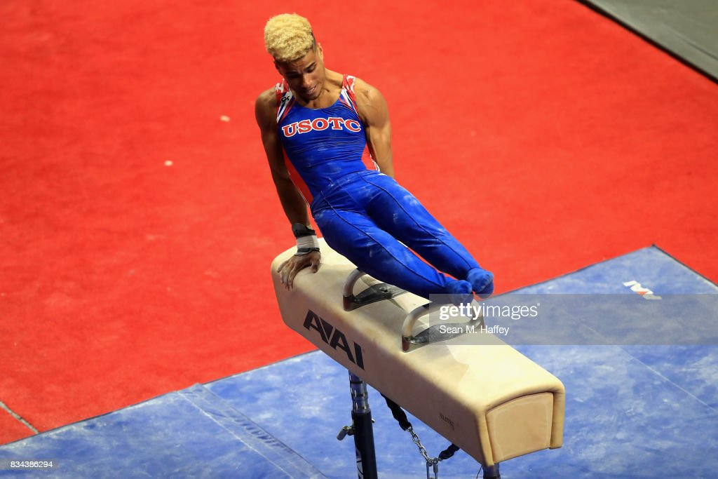 Donothan Bailey competes on the Pommel Horse P&G Gymnastics Championships at Honda Center on August 17, 2017 in Anaheim, California.