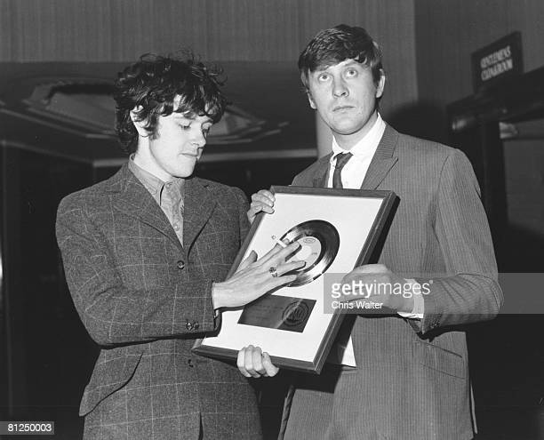 Donovan 1967 with producer Mickie Most and Sunshine Superman US Gold Disc Chris Walter
