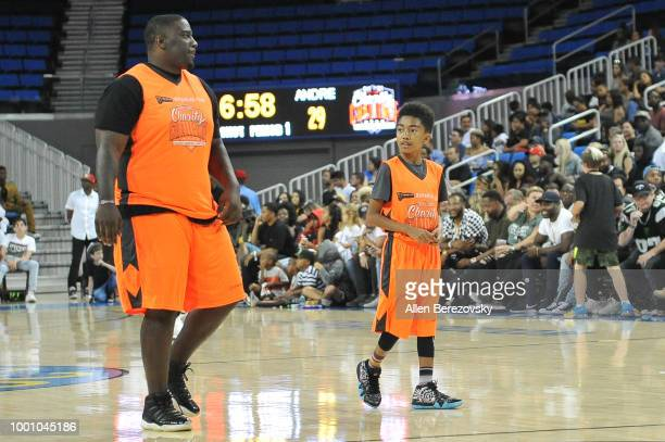 Donovan Carter and Miles Brown participate in Monster Energy Outbreak $50K Charity Challenge celebrity basketball game at UCLA on July 17 2018 in Los...