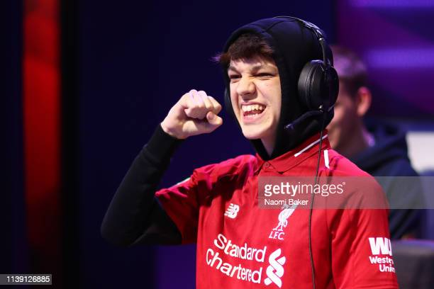 Donovan 'F2Tekkz' Hunt of Liverpool celebrates after he wins his semi final match to progress to the final during day 2 of the ePremier League Finals...
