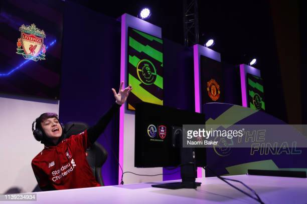 Donovan 'F2Tekkz' Hunt of Liverpool celebrates after winning the final match to be crowned the champion during day 2 of the ePremier League Finals...