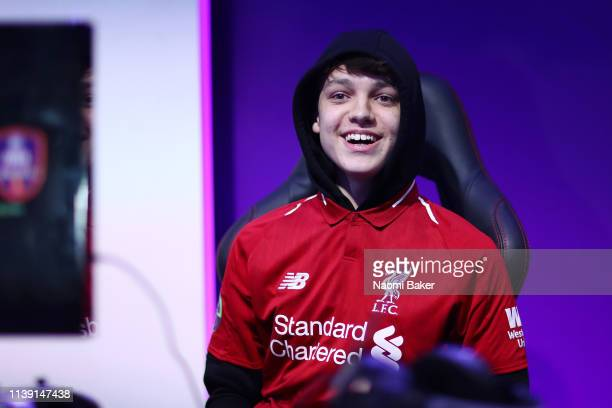 Donovan 'F2Tekkz' Hunt of Liverpool celebrates during day 2 of the ePremier League Finals 2019 at Gfinity Arena on March 29 2019 in London England