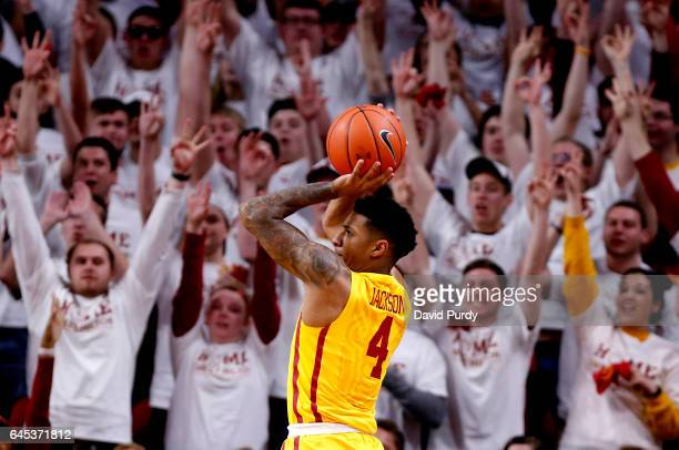 Donovan Jackson of the Iowa State Cyclones takes a three point shot in the second half of play against the at Hilton Coliseum on February 25 2017 in...