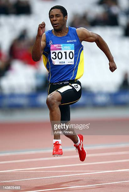 Donovan James competes in the 100m heats during day one of the BUCS Visa Athletics Championships 2012 LOCOG Test Event for London 2012 at Olympic...