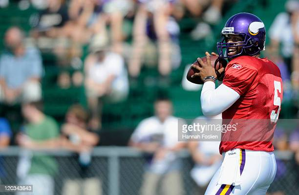 Donovan McNabb of the Minnesota Vikings prepares to throw the ball during training camp at Minnesota State University on August 4 2011 in Mankato...