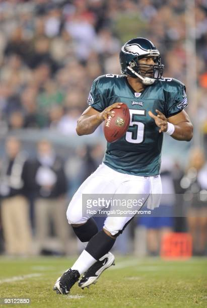 Donovan McNabb of the Philadelphia Eagles drops back to pass against the Dallas Cowboys at Lincoln Financial Field on November 8 2009 in Philadelphia...