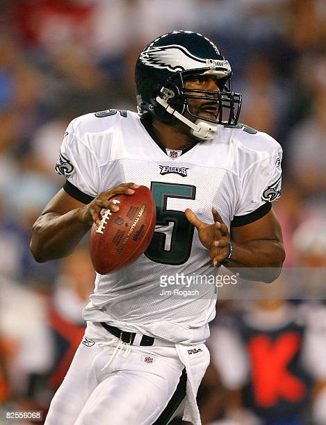 Donovan McNabb of the Philadelphia Eagles faces the New England Patriots during preseason action at Gillette Stadium on August 22 2008 in Foxboro...