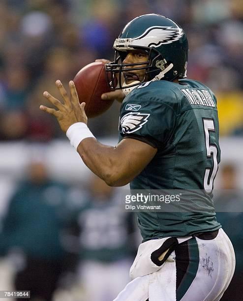 Donovan McNabb of the Philadelphia Eagles passes against the New York Giants on December 9, 2007 at Lincoln Financial Field in Philadelphia,...