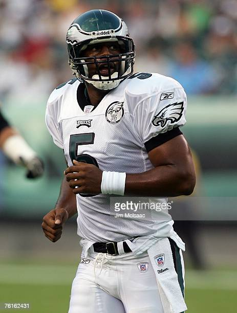 Donovan McNabb of the Philadelphia Eagles runs off the field during a pre-season game against the Carolina Panthers at Lincoln Financial Field August...