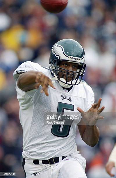 Donovan McNabb of the Philadelphia Eagles throws a pass against the Buffalo Bills on September 28 2003 at Ralph Wilson Stadium in Orchard Park New...