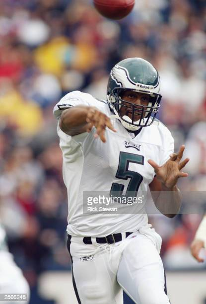 Donovan McNabb of the Philadelphia Eagles throws a pass against the Buffalo Bills on September 28, 2003 at Ralph Wilson Stadium in Orchard Park, New...