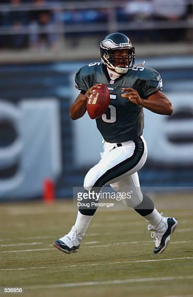 Donovan McNabb quarterback for the Philadelphia Eagles rolls out versus the Minnesota Vikings in their game at Veterans Stadium in Philadelphia...