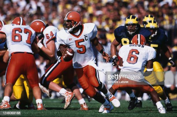 Donovan McNabb, Quarterback for the University of Syracuse Orange during the NCAA Division I-A Big 10 college football game against the University of...