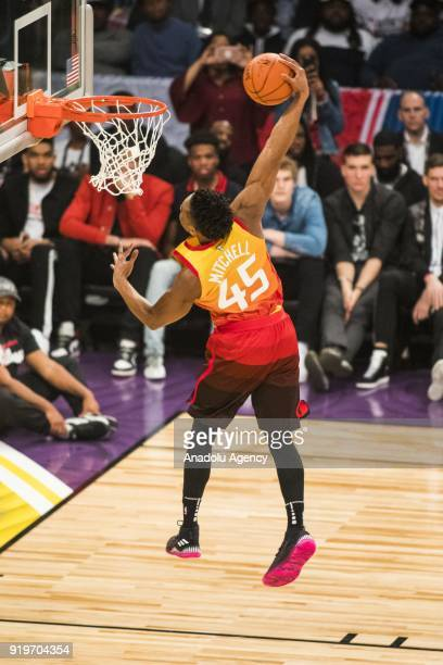 Donovan Mitchel of the Utah Jazz competes in the Verizon Slam Dunk Contest during State Farm AllStar Saturday Night as part of AllStar Weekend at the...