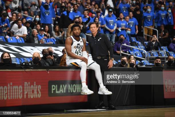 Donovan Mitchell and Head Coach Quin Snyder of the Utah Jazz look on during the game against the LA Clippers during Round 2, Game 6 of the 2021 NBA...