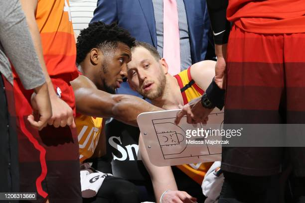 Donovan Mitchell and Joe Ingles of the Utah Jazz look at a play during the game against the Toronto Raptors on March 9 2020 at vivintSmartHome Arena...