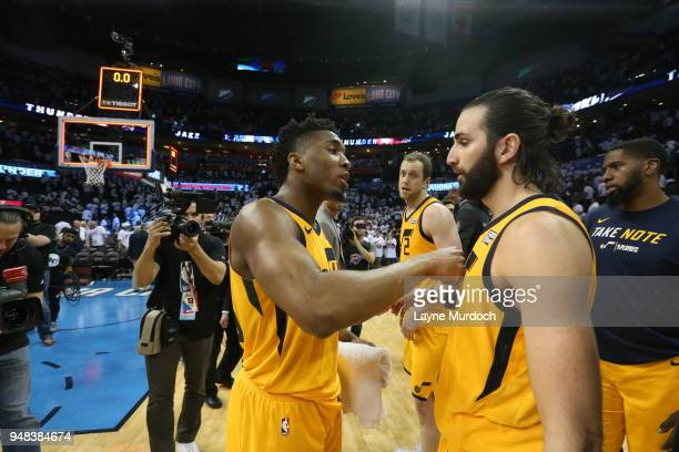 CITY OK APRIL 18 Donovan Mitchell and Ricky Rubio of the Utah Jazz exchange a hug after Game Two of Round One of the 2018 NBA Playoffs against the...