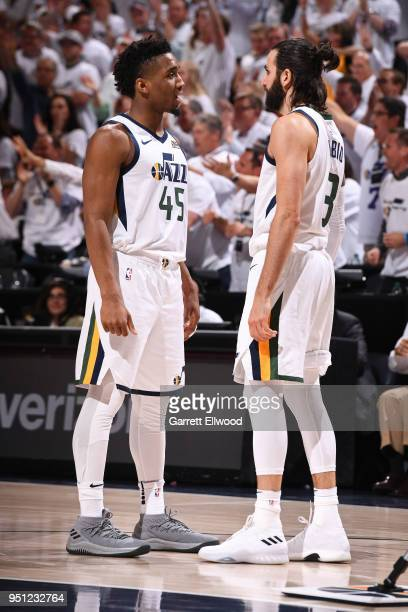 Donovan Mitchell and Ricky Rubio of the Utah Jazz talk during Game Four of Round One of the 2018 NBA Playoffs against the Oklahoma City Thunder on...