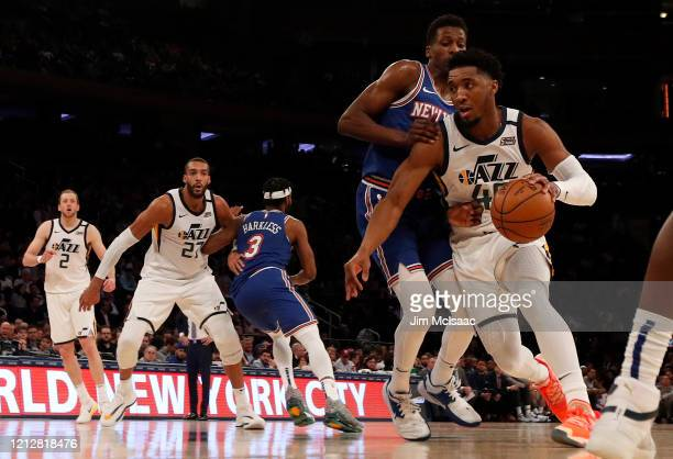 Donovan Mitchell and Rudy Gobert of the Utah Jazz in action against the New York Knicks at Madison Square Garden on March 04 2020 in New York City...