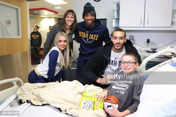 Donovan Mitchell and Rudy Gobert of the Utah Jazz visits patients at Primary Children's Hospital on December 11 2017 in Salt Lake City Utah NOTE TO...