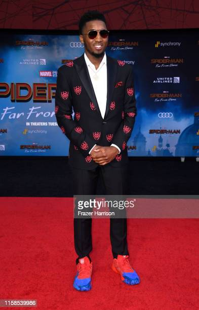 "Donovan Mitchell attends the Premiere Of Sony Pictures' ""Spider-Man Far From Home"" at TCL Chinese Theatre on June 26, 2019 in Hollywood, California."