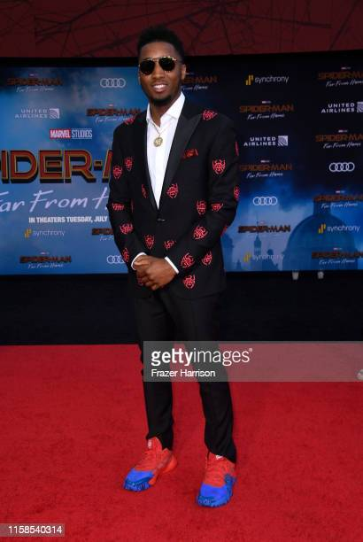 Donovan Mitchell attends the Premiere Of Sony Pictures' SpiderMan Far From Home at TCL Chinese Theatre on June 26 2019 in Hollywood California