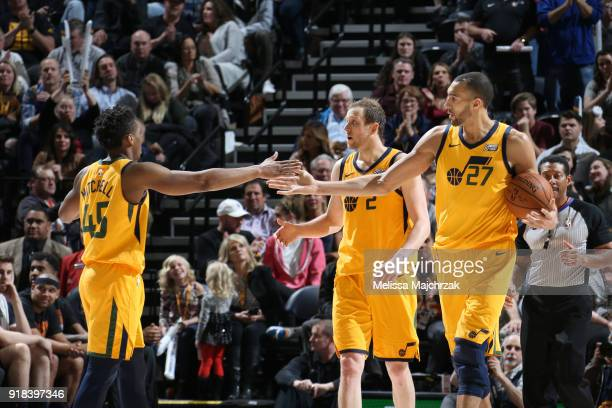 Donovan Mitchell Joe Ingles and Rudy Gobert of the Utah Jazz dt against the Phoenix Suns on February 14 2018 at Vivint Smart Home Arena in Salt Lake...