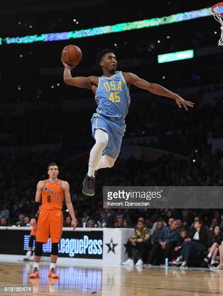 Donovan Mitchell of Team USA dunks during the 2018 Mountain Dew Kickstart Rising Stars Game at Staples Center on February 16 2018 in Los Angeles...