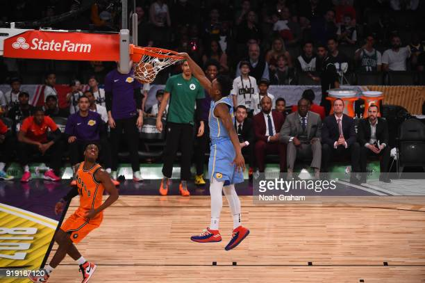 Donovan Mitchell of the US Team dunks during the Mtn Dew Kickstart Rising Stars Game during AllStar Friday Night as part of 2018 NBA AllStar Weekend...