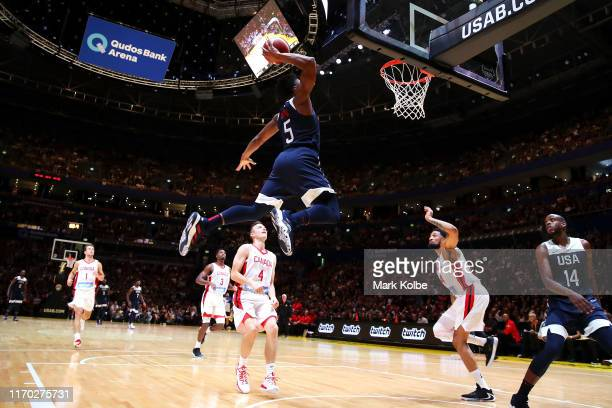 Donovan Mitchell of the USA dunks during the International Friendly Basketball match between Canada and the USA at Qudos Bank Arena on August 26 2019...