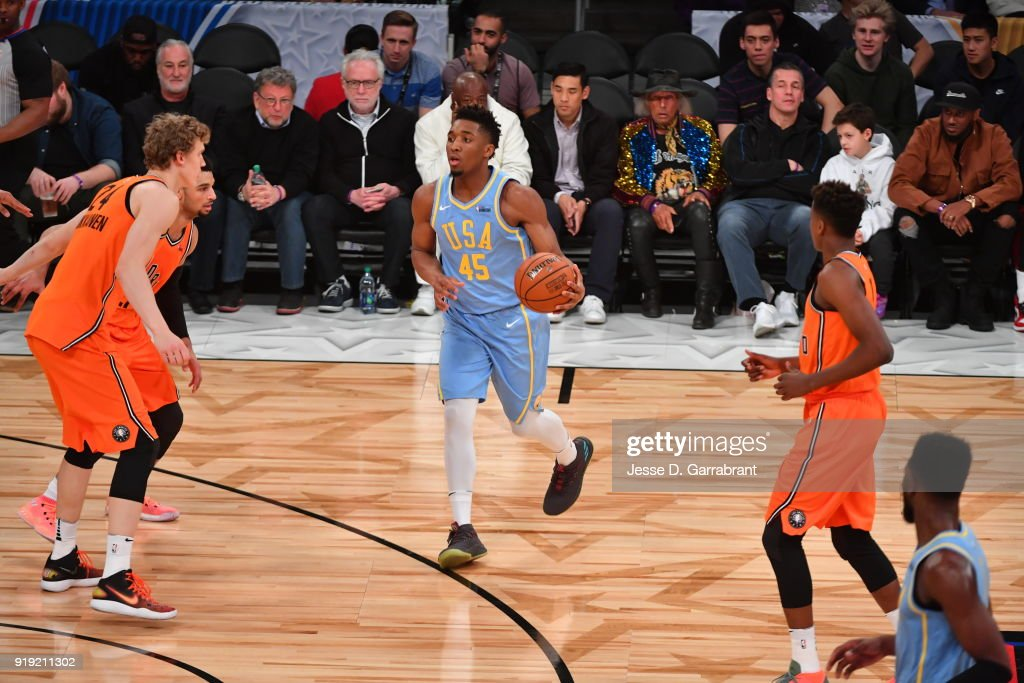Donovan Mitchell #45 of the USA Team controls the ball against the World Team during the Mountain Dew Kickstart Rising Stars Game during All-Star Friday Night as part of 2018 NBA All-Star Weekend at the STAPLES Center on February 16, 2018 in Los Angeles, California.