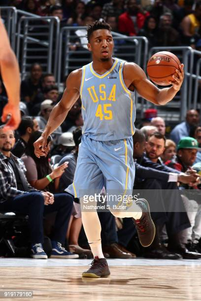 Donovan Mitchell of the USA Team handles the ball against the World Team during the Mountain Dew Kickstart Rising Stars Game during AllStar Friday...