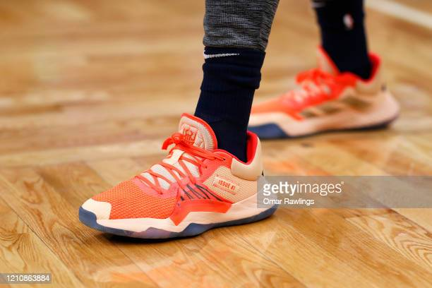 Donovan Mitchell of the Utah Jazz Adidas sneakers before the game against the Boston Celtics at TD Garden on March 06 2020 in Boston Massachusetts...