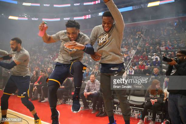 Donovan Mitchell of the Utah Jazz and Emmanuel Mudiay of the Utah Jazz celebrate prior to the game against the Detroit Pistons on March 7 2020 at...