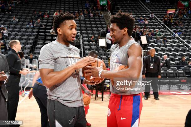 Donovan Mitchell of the Utah Jazz and Langston Galloway of the Detroit Pistons speak prior to the game on March 7 2020 at Little Caesars Arena in...