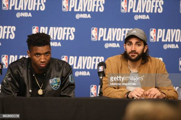 Donovan Mitchell of the Utah Jazz and Ricky Rubio of the Utah Jazz speak with media after the game against the Oklahoma City Thunder in Game Four of...