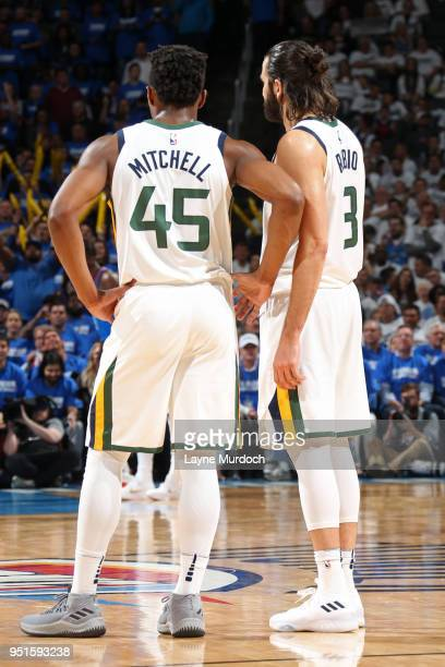 Donovan Mitchell of the Utah Jazz and Ricky Rubio of the Utah Jazz look on during the game against the Oklahoma City Thunder in Game Five of Round...