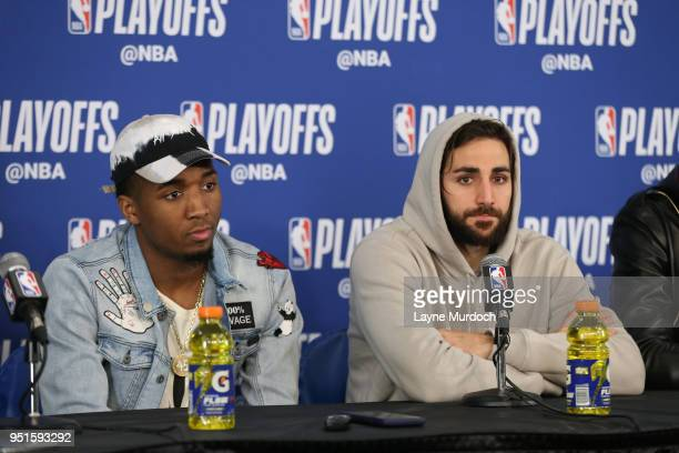 Donovan Mitchell of the Utah Jazz and Ricky Rubio of the Utah Jazz speak with the media during a press conference after the game against the Oklahoma...