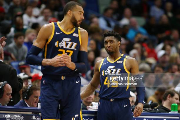 Donovan Mitchell of the Utah Jazz and Rudy Gobert talk against the New Orleans Pelicans during a game at the Smoothie King Center on January 06 2020...